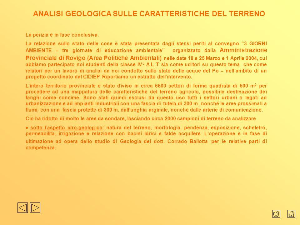ANALISI GEOLOGICA SULLE CARATTERISTICHE DEL TERRENO La perizia è in fase conclusiva. La relazione sullo stato delle cose è stata presentata dagli stes
