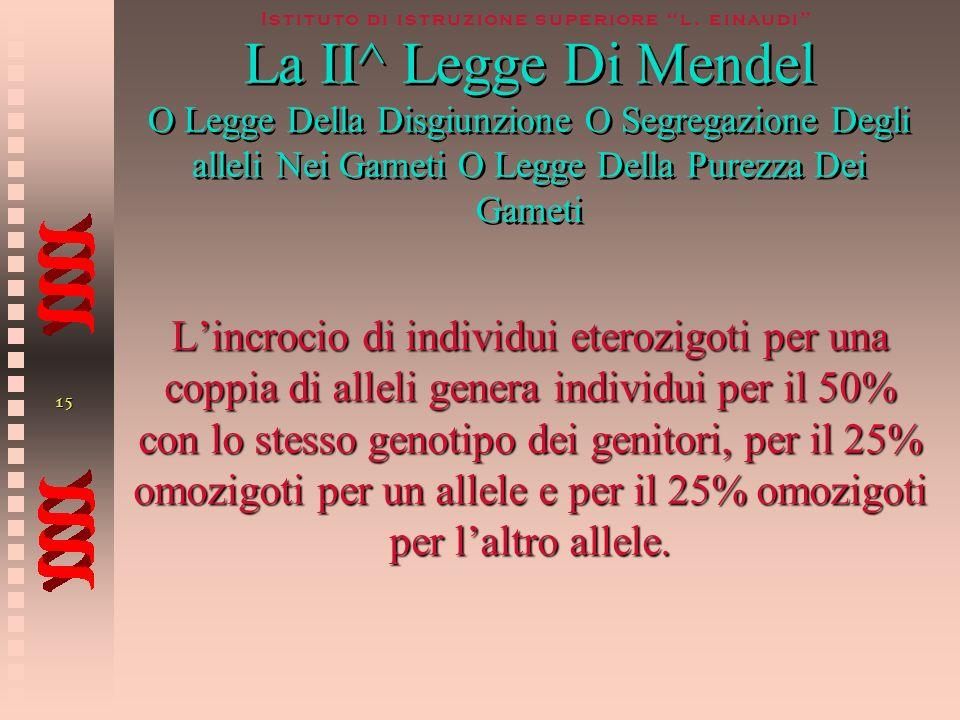 14 Istituto di istruzione superiore l. einaudi La 1^ Legge Di Mendel O Legge Della DOMINANZA P F1 x 100% degli F1 hanno lo stesso genotipo e lo stesso