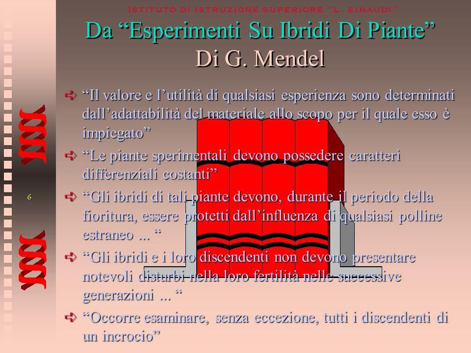 5 Istituto di istruzione superiore l. einaudi LIbridizzazioneLIbridizzazione Mendel sosteneva che il metodo che permetteva lanalisi sperimentale della