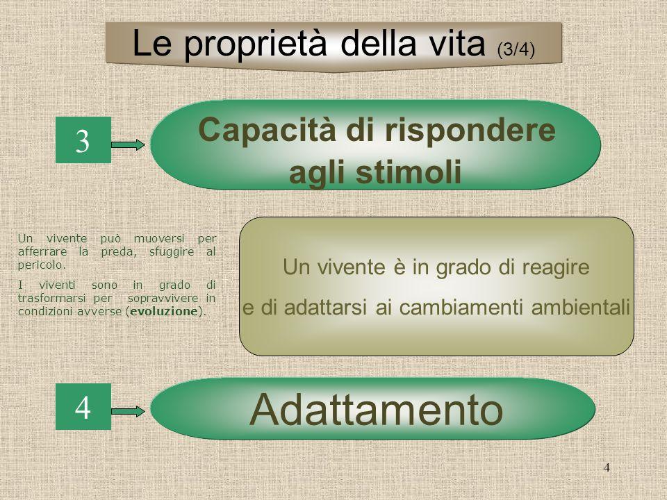 4 3 Capacità di rispondere agli stimoli 4 Adattamento Un vivente è in grado di reagire e di adattarsi ai cambiamenti ambientali Le proprietà della vit