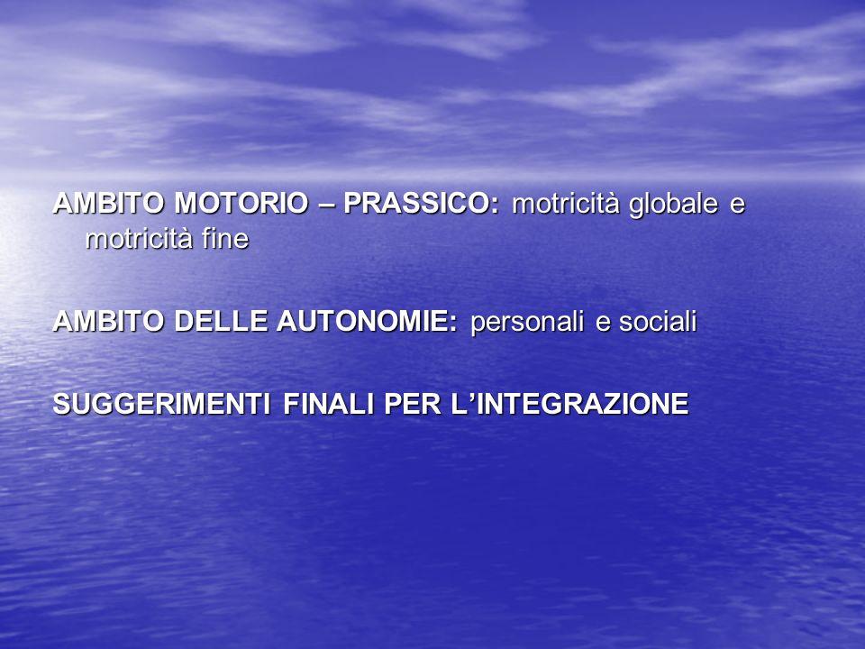 AMBITO MOTORIO – PRASSICO: motricità globale e motricità fine AMBITO DELLE AUTONOMIE: personali e sociali SUGGERIMENTI FINALI PER LINTEGRAZIONE