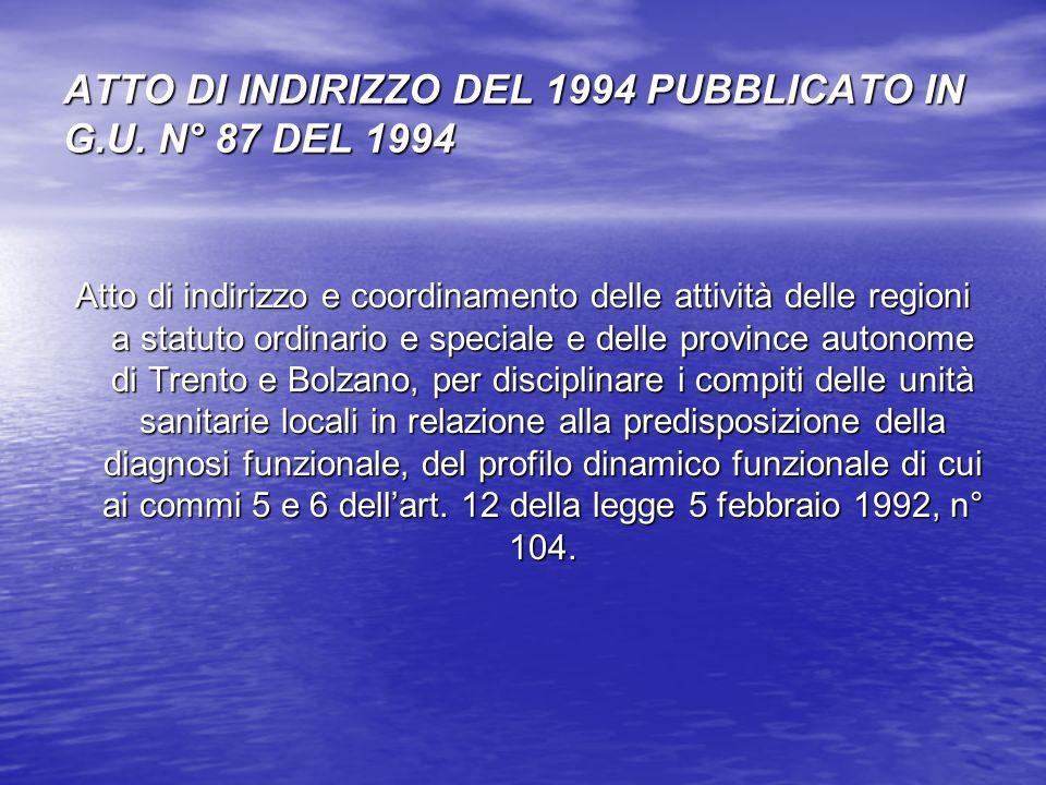 ATTO DI INDIRIZZO DEL 1994 PUBBLICATO IN G.U. N° 87 DEL 1994 Atto di indirizzo e coordinamento delle attività delle regioni a statuto ordinario e spec