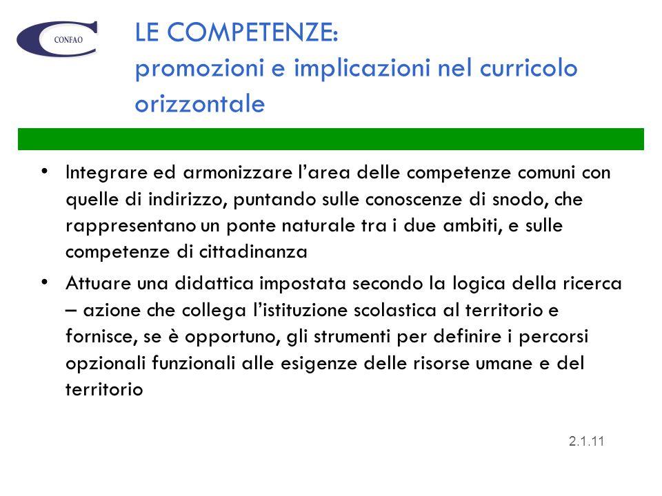 LE COMPETENZE: promozioni e implicazioni nel curricolo orizzontale Integrare ed armonizzare larea delle competenze comuni con quelle di indirizzo, pun
