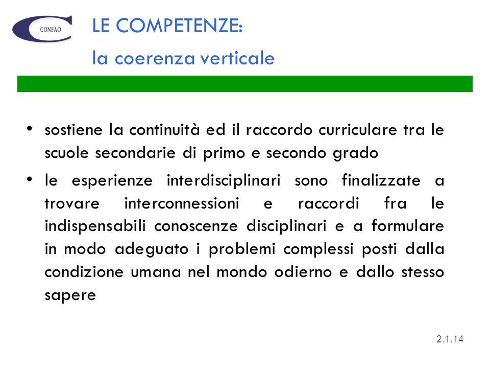 LE COMPETENZE: la coerenza verticale sostiene la continuità ed il raccordo curriculare tra le scuole secondarie di primo e secondo grado le esperienze