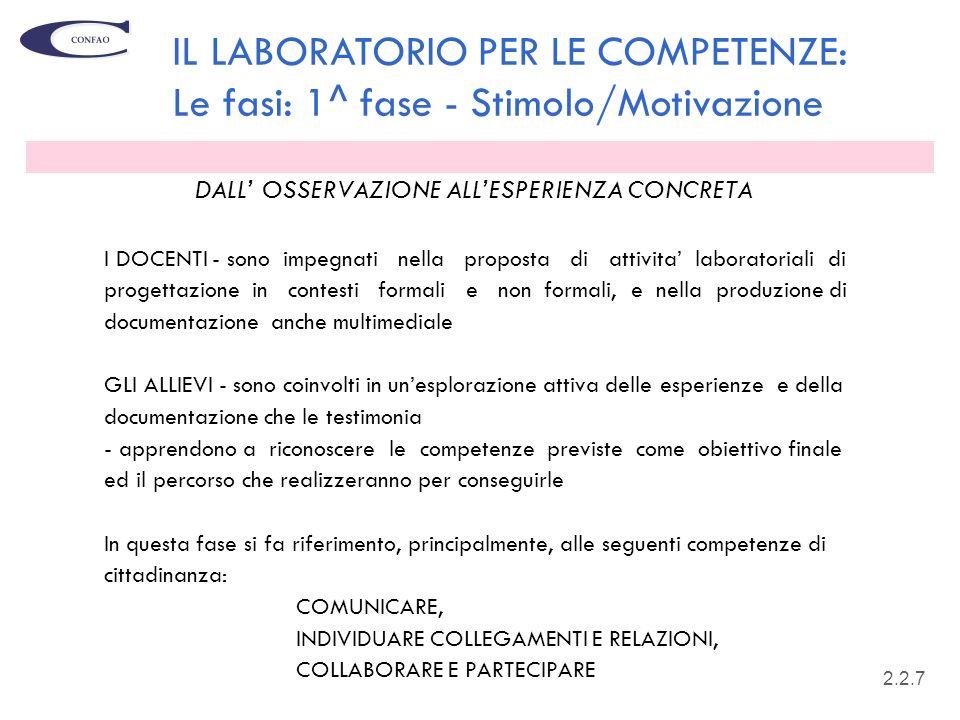 19 DALL OSSERVAZIONE ALLESPERIENZA CONCRETA I DOCENTI - sono impegnati nella proposta di attivita laboratoriali di progettazione in contesti formali e