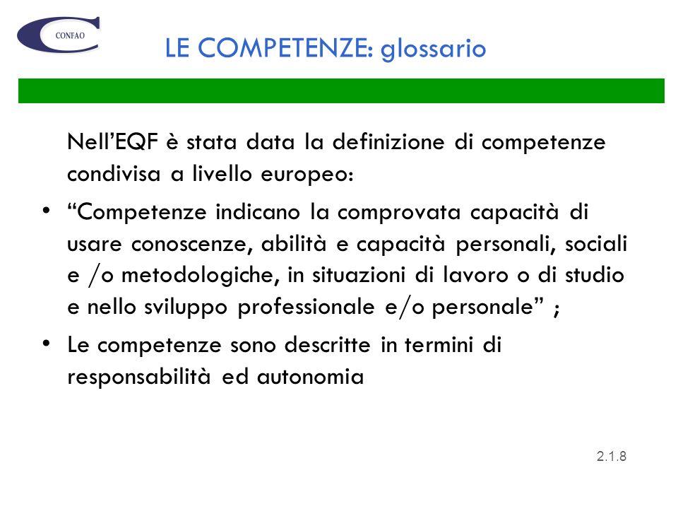 LE COMPETENZE: glossario NellEQF è stata data la definizione di competenze condivisa a livello europeo: Competenze indicano la comprovata capacità di