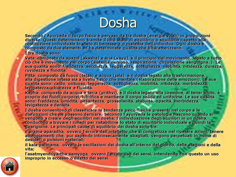 Dosha Secondo l Ayurveda il corpo fisico è pervaso da tre dosha (energie vitali) in proporzioni diverse.