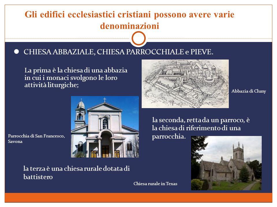 Gli edifici ecclesiastici cristiani possono avere varie denominazioni CHIESA ABBAZIALE, CHIESA PARROCCHIALE e PIEVE. la seconda, retta da un parroco,