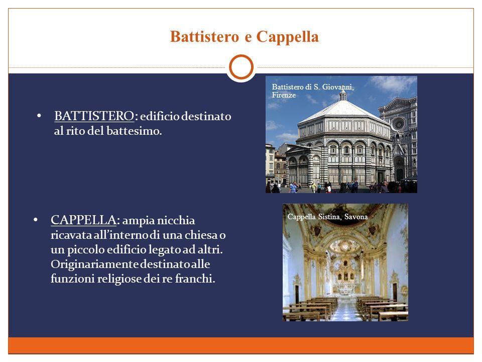 Battistero e Cappella BATTISTERO: edificio destinato al rito del battesimo. CAPPELLA: ampia nicchia ricavata allinterno di una chiesa o un piccolo edi