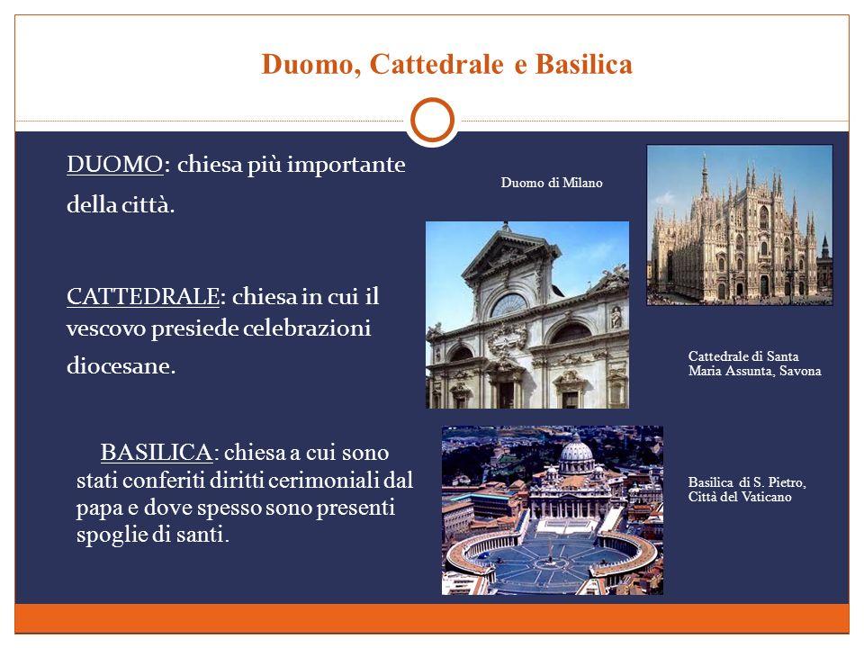 Duomo, Cattedrale e Basilica DUOMO: chiesa più importante della città. BASILICA: chiesa a cui sono stati conferiti diritti cerimoniali dal papa e dove