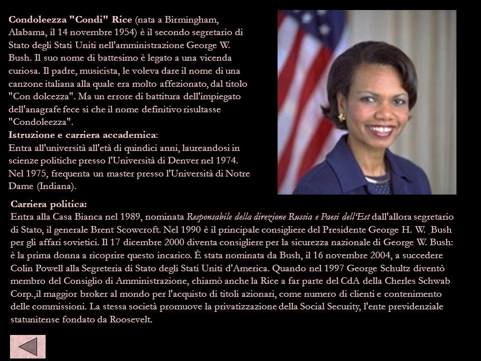 condoleeza rice Carriera politica: Entra alla Casa Bianca nel 1989, nominata Responsabile della direzione Russia e Paesi dellEst dall'allora segretari