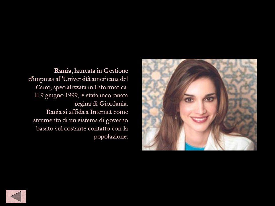 Rania, laureata in Gestione d'impresa all'Università americana del Cairo, specializzata in Informatica. Il 9 giugno 1999, è stata incoronata regina di