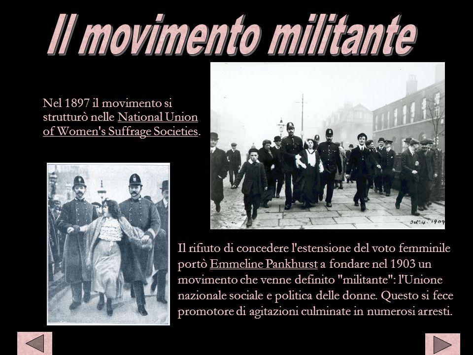 Nel 1897 il movimento si strutturò nelle National Union of Women's Suffrage Societies. Il rifiuto di concedere l'estensione del voto femminile portò E