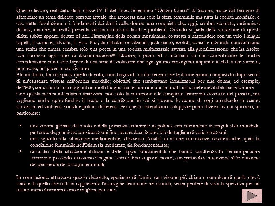 Questo lavoro, realizzato dalla classe IV B del Liceo Scientifico Orazio Grassi di Savona, nasce dal bisogno di affrontare un tema delicato, sempre at