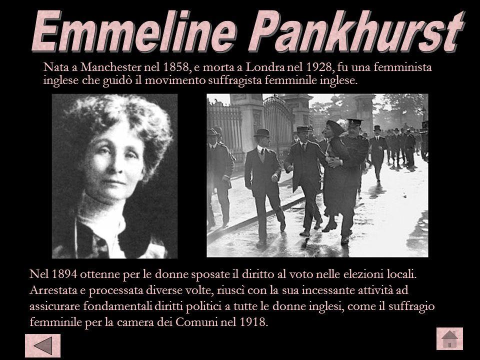 Nata a Manchester nel 1858, e morta a Londra nel 1928, fu una femminista inglese che guidò il movimento suffragista femminile inglese. Nel 1894 ottenn