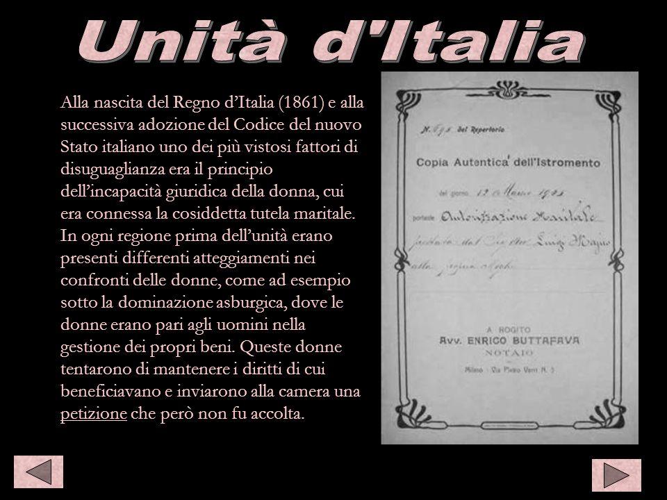 Alla nascita del Regno dItalia (1861) e alla successiva adozione del Codice del nuovo Stato italiano uno dei più vistosi fattori di disuguaglianza era