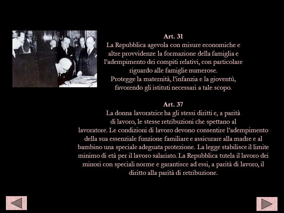 1947: Enrico De Nicola promulga la Costituzione repubblicana Art. 31 La Repubblica agevola con misure economiche e altre provvidenze la formazione del