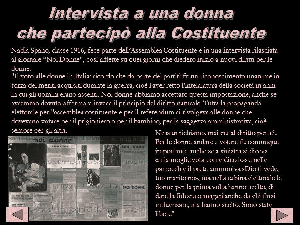 Intervista a Nadia Spano Nadia Spano, classe 1916, fece parte dellAssemblea Costituente e in una intervista rilasciata al giornale Noi Donne