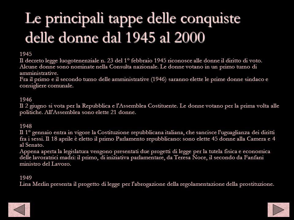1945 Il decreto legge luogotenenziale n. 23 del 1° febbraio 1945 riconosce alle donne il diritto di voto. Alcune donne sono nominate nella Consulta na