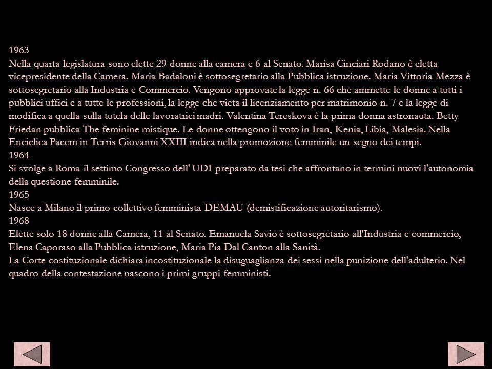 1963 Nella quarta legislatura sono elette 29 donne alla camera e 6 al Senato. Marisa Cinciari Rodano è eletta vicepresidente della Camera. Maria Badal