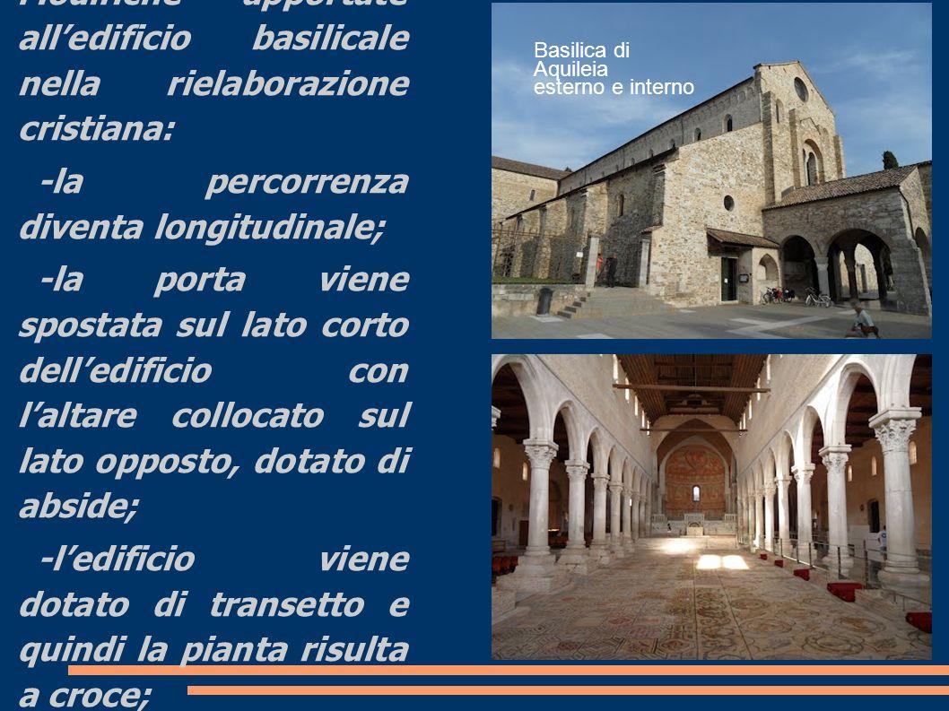 Innovazio ni Modifiche apportate alledificio basilicale nella rielaborazione cristiana: -la percorrenza diventa longitudinale; -la porta viene spostat