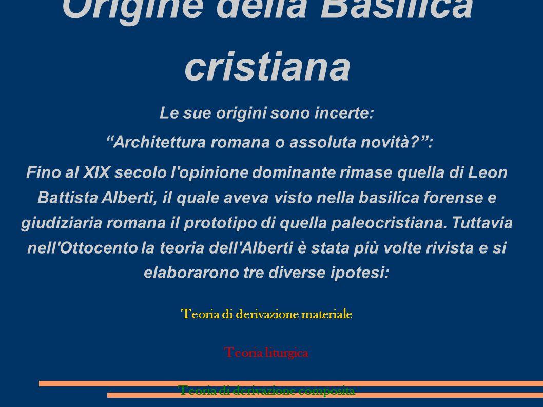 Origine della Basilica cristiana Le sue origini sono incerte: Architettura romana o assoluta novità?: Fino al XIX secolo l'opinione dominante rimase q
