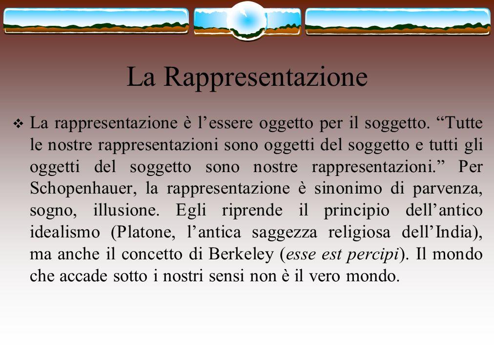 La Rappresentazione La rappresentazione è lessere oggetto per il soggetto. Tutte le nostre rappresentazioni sono oggetti del soggetto e tutti gli ogge