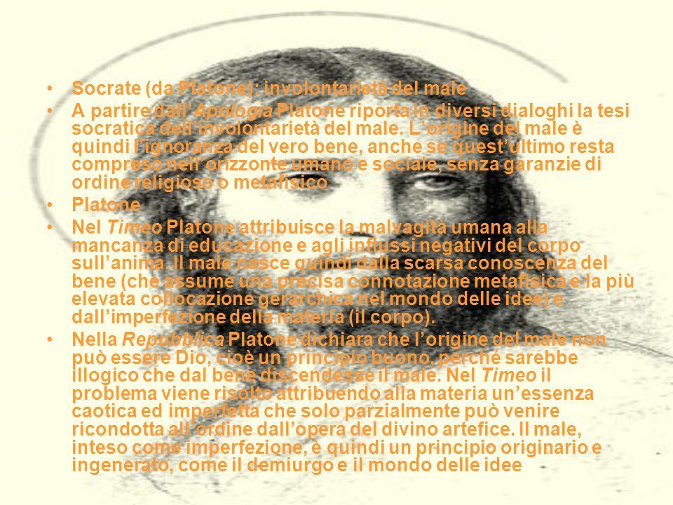 Socrate (da Platone): involontarietà del male A partire dallApologia Platone riporta in diversi dialoghi la tesi socratica dellinvolontarietà del male.
