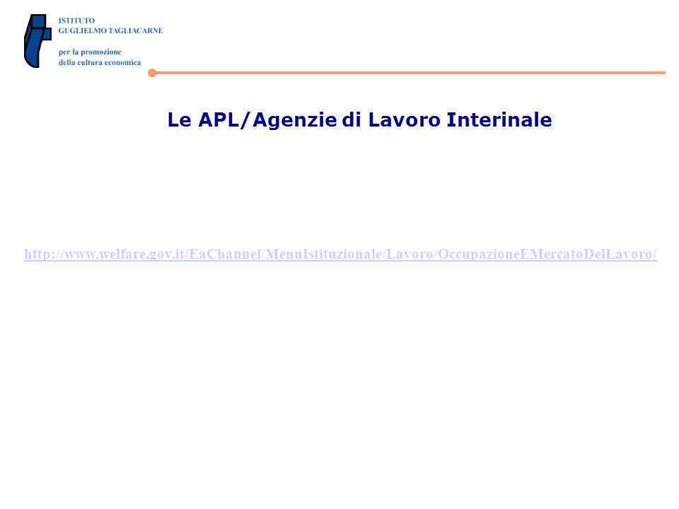 Le APL/Agenzie di Lavoro Interinale http://www.welfare.gov.it/EaChannel/MenuIstituzionale/Lavoro/OccupazioneEMercatoDelLavoro/