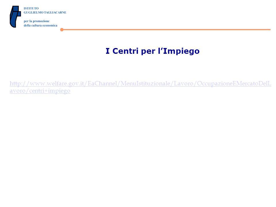 I Centri per lImpiego http://www.welfare.gov.it/EaChannel/MenuIstituzionale/Lavoro/OccupazioneEMercatoDelL avoro/centri+impiego
