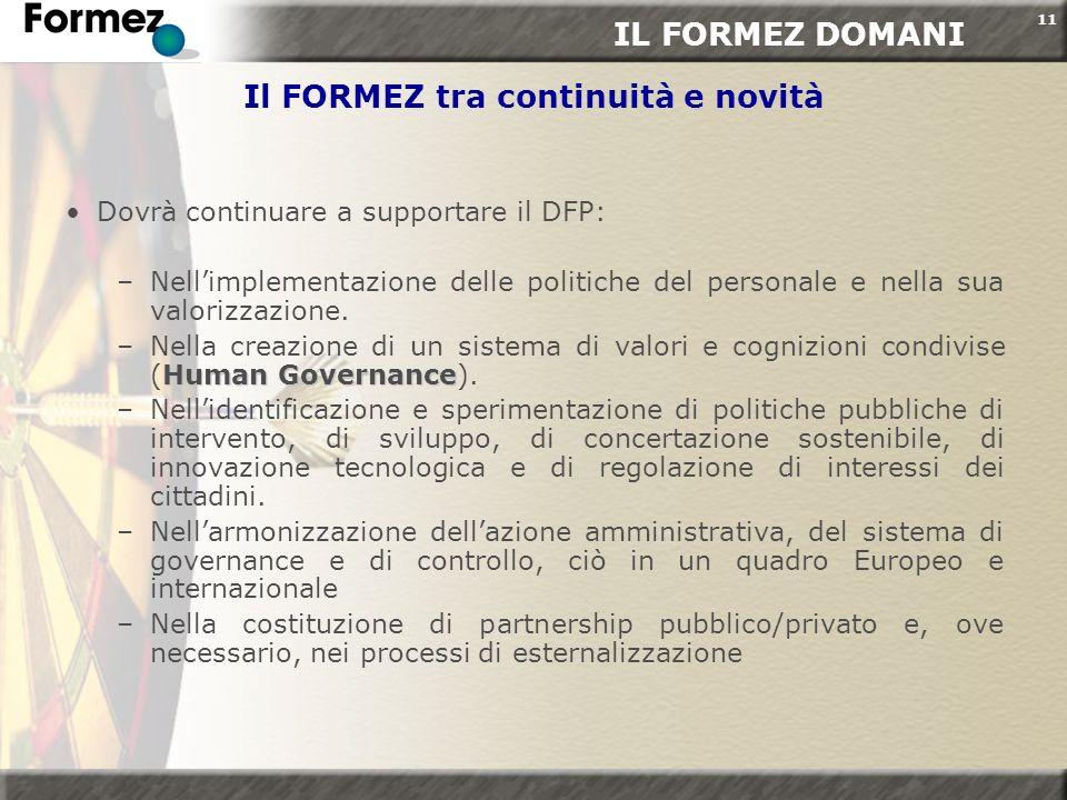 11 Il FORMEZ tra continuità e novità Dovrà continuare a supportare il DFP: –Nellimplementazione delle politiche del personale e nella sua valorizzazio