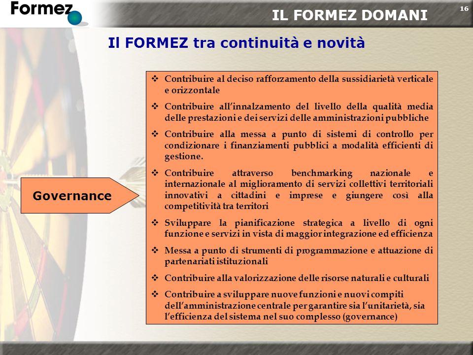 16 Il FORMEZ tra continuità e novità Governance Contribuire al deciso rafforzamento della sussidiarietà verticale e orizzontale Contribuire allinnalza