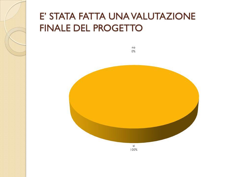 E STATA FATTA UNA VALUTAZIONE FINALE DEL PROGETTO