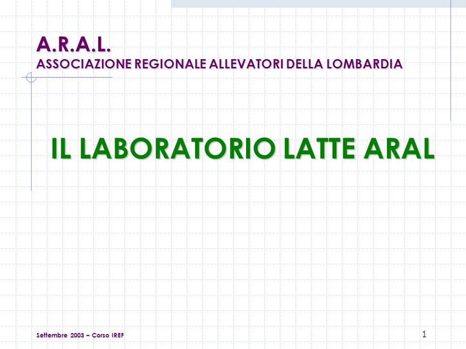 12 Accettazione dei campioni e smistamento al settore di competenza Settembre 2003 – Corso IREF A.R.A.L.