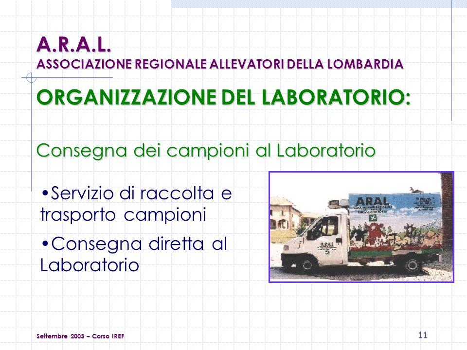 11 ORGANIZZAZIONE DEL LABORATORIO: Servizio di raccolta e trasporto campioni Settembre 2003 – Corso IREF A.R.A.L.