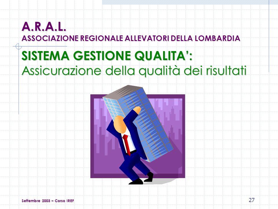 27 Settembre 2003 – Corso IREF SISTEMA GESTIONE QUALITA: Assicurazione della qualità dei risultati A.R.A.L.