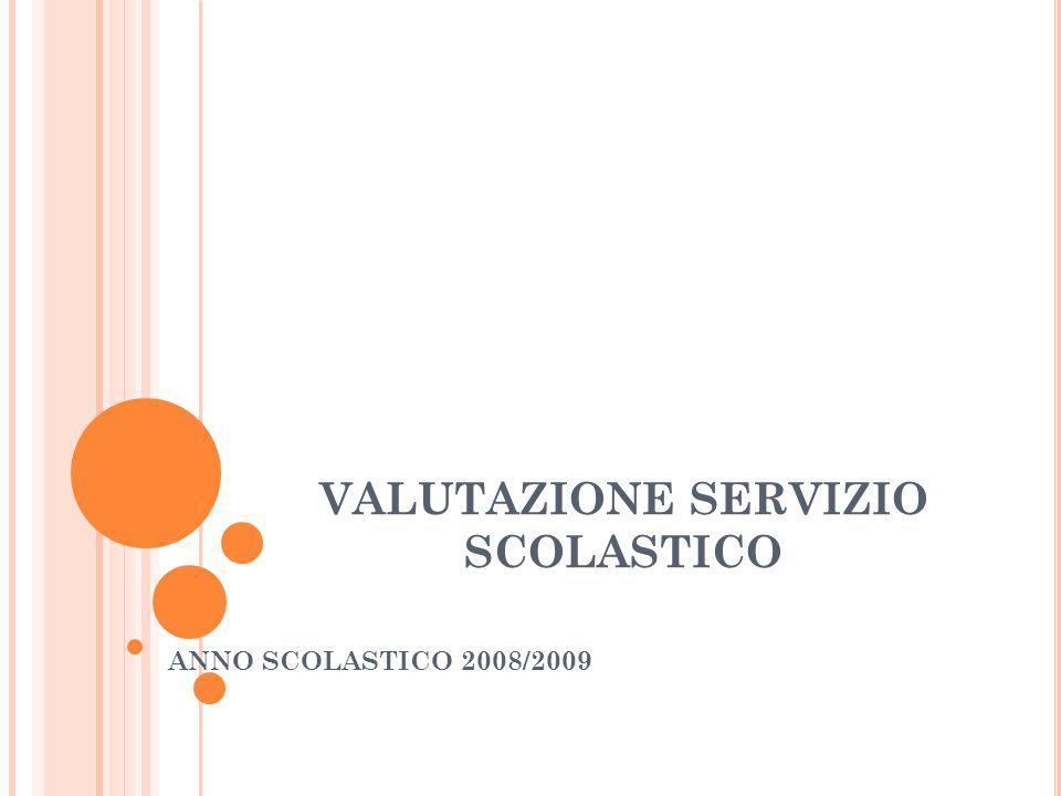 VALUTAZIONE SERVIZIO SCOLASTICO ANNO SCOLASTICO 2008/2009