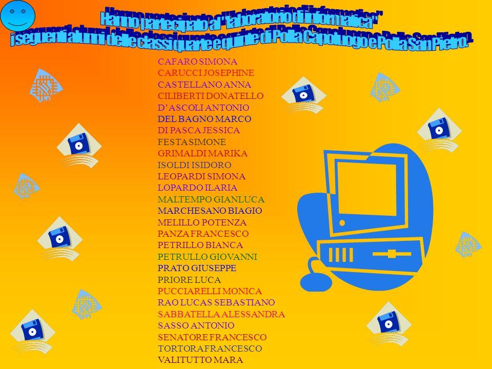 CAFARO SIMONA CARUCCI JOSEPHINE CASTELLANO ANNA CILIBERTI DONATELLO DASCOLI ANTONIO DEL BAGNO MARCO DI PASCA JESSICA FESTA SIMONE GRIMALDI MARIKA ISOL