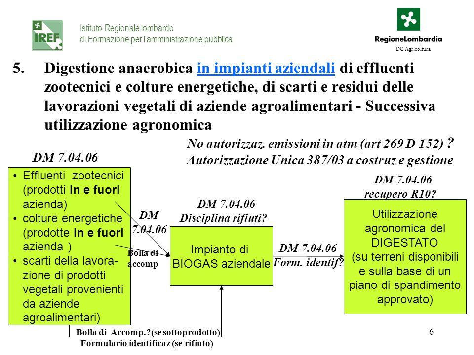 6 5.Digestione anaerobica in impianti aziendali di effluenti zootecnici e colture energetiche, di scarti e residui delle lavorazioni vegetali di azien