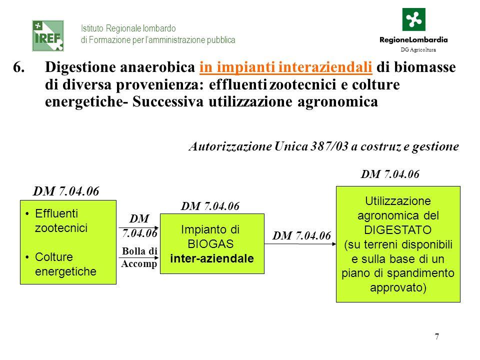 7 6.Digestione anaerobica in impianti interaziendali di biomasse di diversa provenienza: effluenti zootecnici e colture energetiche- Successiva utiliz