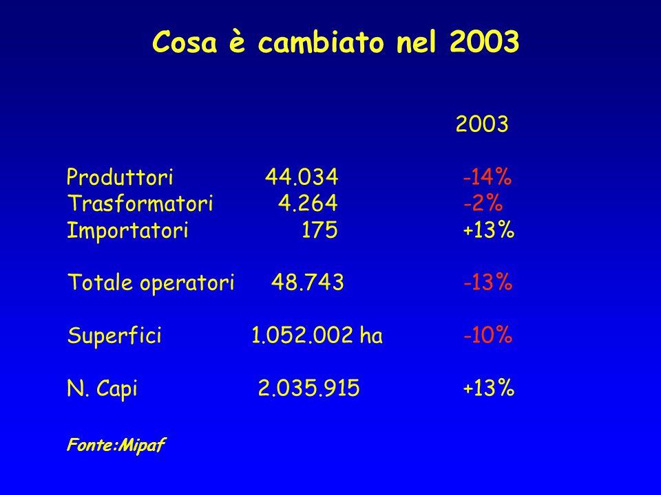 Cosa è cambiato nel 2003 2003 Produttori44.034 -14% Trasformatori 4.264 -2% Importatori 175 +13% Totale operatori 48.743 -13% Superfici 1.052.002 ha -10% N.