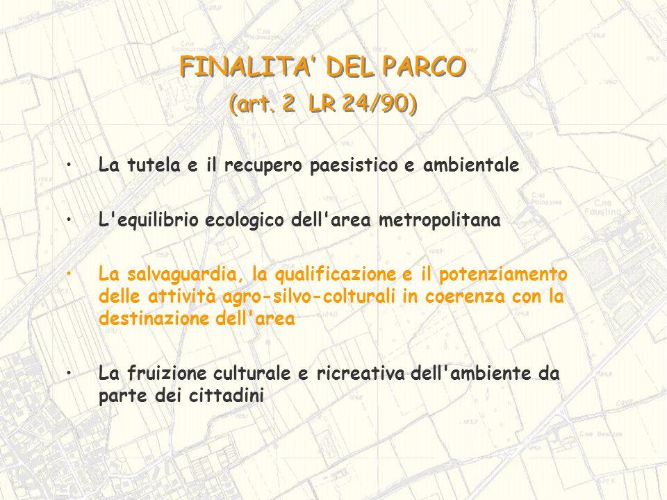 FINALITA DEL PARCO (art. 2 LR 24/90) FINALITA DEL PARCO (art. 2 LR 24/90) La tutela e il recupero paesistico e ambientale L'equilibrio ecologico dell'