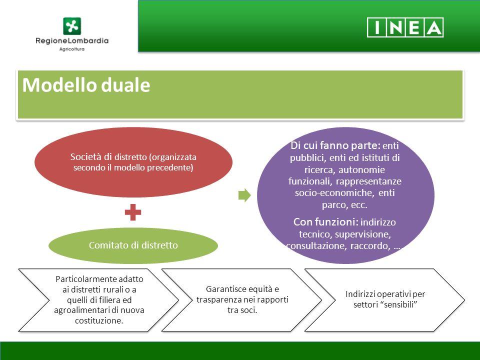 Modello duale Particolarmente adatto ai distretti rurali o a quelli di filiera ed agroalimentari di nuova costituzione. Garantisce equità e trasparenz
