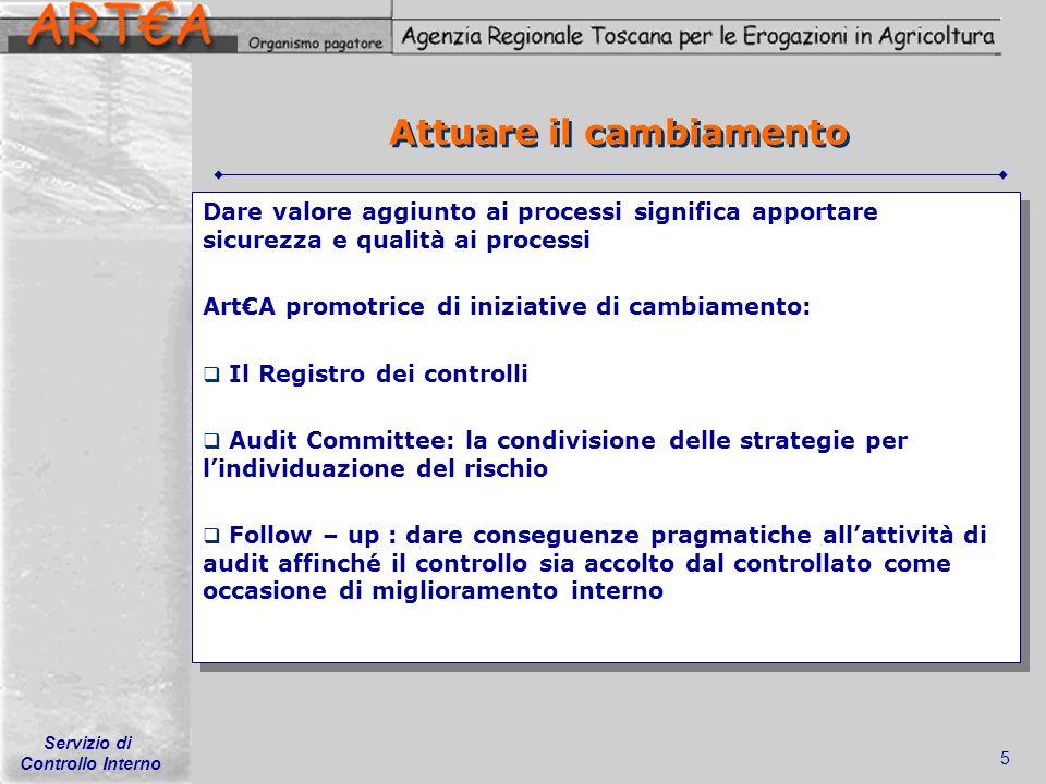 Servizio di Controllo Interno 5 Attuare il cambiamento Dare valore aggiunto ai processi significa apportare sicurezza e qualità ai processi ArtA promo