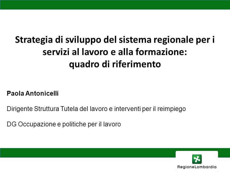 Paola Antonicelli Dirigente Struttura Tutela del lavoro e interventi per il reimpiego DG Occupazione e politiche per il lavoro Strategia di sviluppo d