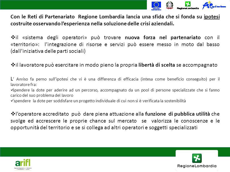 Con le Reti di Partenariato Regione Lombardia lancia una sfida che si fonda su ipotesi costruite osservando lesperienza nella soluzione delle crisi az