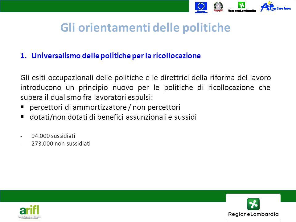 Gli orientamenti delle politiche 1.Universalismo delle politiche per la ricollocazione Gli esiti occupazionali delle politiche e le direttrici della r
