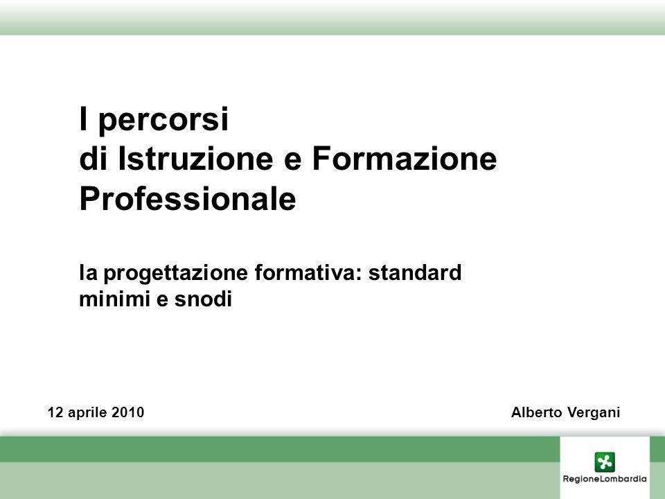 I percorsi di Istruzione e Formazione Professionale la progettazione formativa: standard minimi e snodi 12 aprile 2010Alberto Vergani