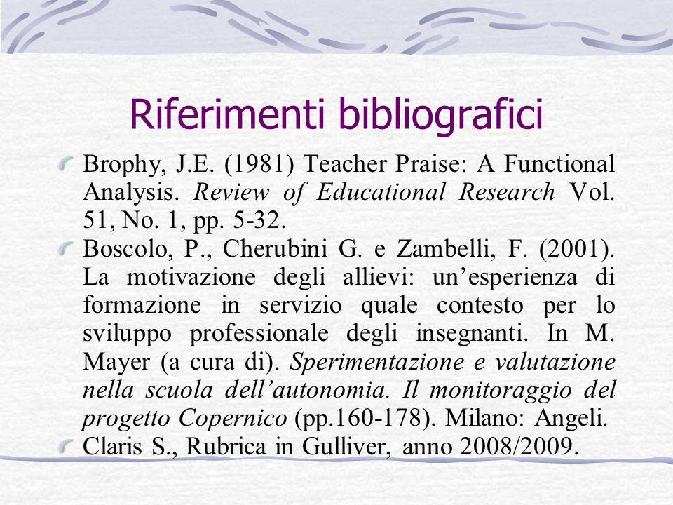 Riferimenti bibliografici Brophy, J.E. (1981) Teacher Praise: A Functional Analysis. Review of Educational Research Vol. 51, No. 1, pp. 5-32. Boscolo,