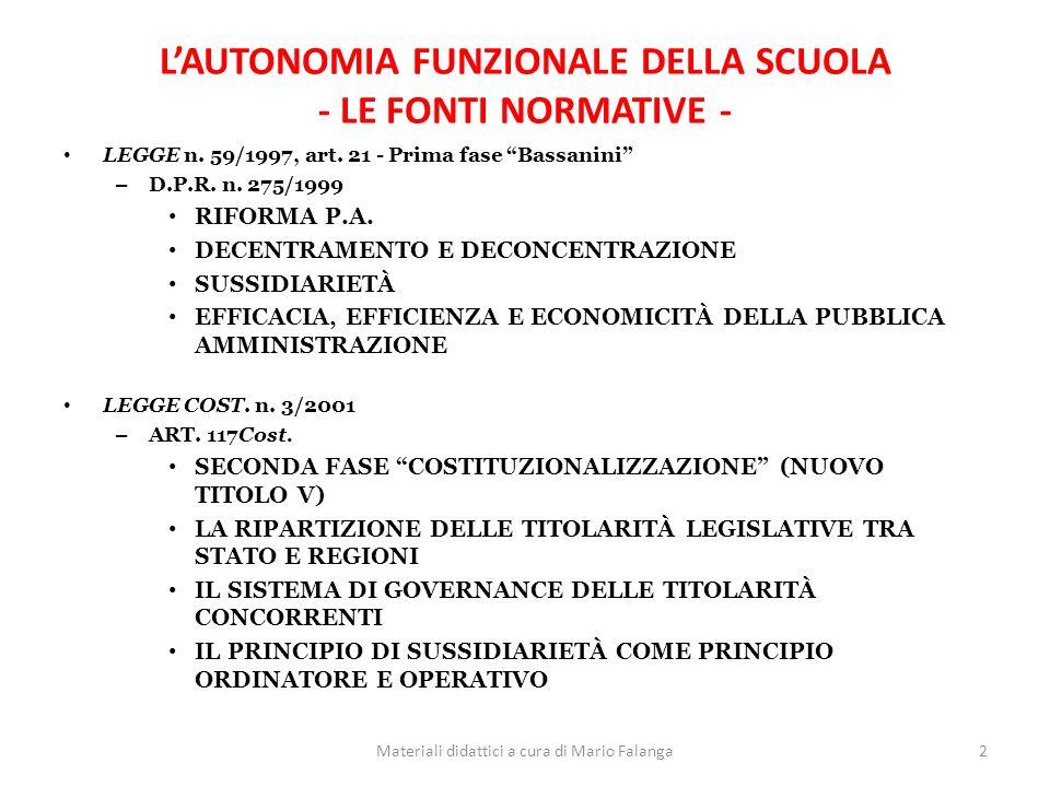 LAUTONOMIA FUNZIONALE DELLA SCUOLA - LE FONTI NORMATIVE - LEGGE n.